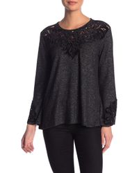 Democracy - Lace Inset Long Sleeve Sweater - Lyst