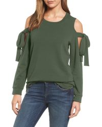 Pleione Cold Shoulder Tie Sleeve Sweatshirt - Green
