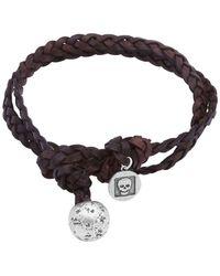 John Varvatos Brown Leather & Silver Bracelet - Metallic
