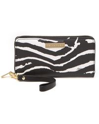 Trina Turk Zebra Stripe Zip-around Wristlet Wallet - Black