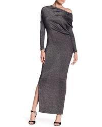LADA LUCCI - One Shoulder Long Sleeve Metallic Dress - Lyst