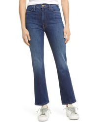 Mother The Hustler High Waist Ankle Bootcut Jeans - Blue