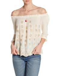 Lucky Brand - Embroidered Off-the-shoulder Blouse - Lyst