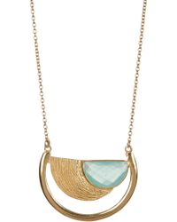 Argento Vivo - 18k Gold Plated Sterling Silver Stone Accent Cutout Half Moon Pendant Necklace - Lyst