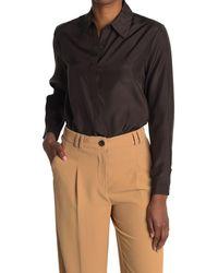 Thakoon Classic Silk Button Down Shirt - Brown