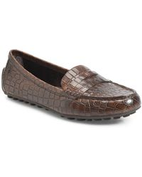 Born Malena Croc Embossed Driving Loafer - Brown