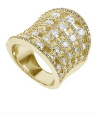 Kenneth Jay Lane - 18k Yellow Gold Plated Cz Pave Ring - Lyst