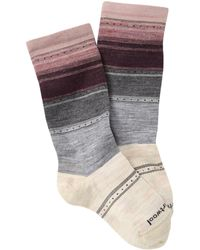 Smartwool Sulawesi Striped Wool Blend Crew Socks - Gray