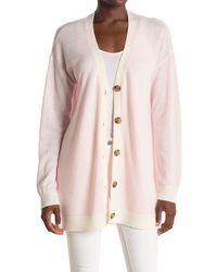ATM V-neck Button Front Long Wool & Cashmere Cardigan - Pink