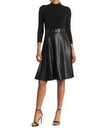 Calvin Klein Mock Neck Faux Leather Skirted Twofer Midi Dress - Black