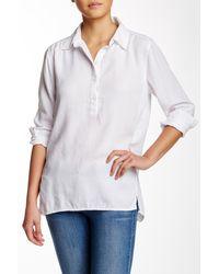 ABS By Allen Schwartz Garment Dyed Popover Blouse - White