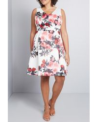 ModCloth Floral Print Fit & Flare Dress - White