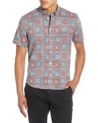 Billy Reid Kirby Savannah Tile Short Sleeve Slim Fit Shirt - Blue