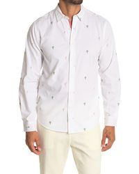 Report Collection Tropical Print Long Sleeve Sport Shirt - White