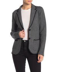 Magaschoni Notch Collar Front Button Blazer - Gray