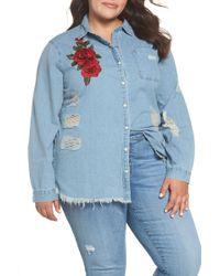 Glamorous - Embroidered Distressed Cotton Denim Shirt (mid Stonewash) (plus Size) - Lyst