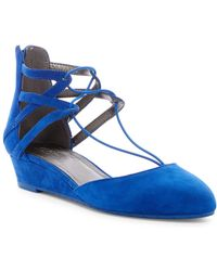 Kenneth Cole Reaction Why Not Wedge Suede Flat - Blue