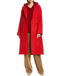 Vince Double-breasted Alpaca Long Coat - Red
