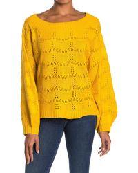Mustard Seed Pointelle Balloon Sleeve Sweater - Yellow
