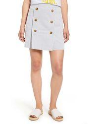 J.Crew Stretch Seersucker Button Front Mini Skirt - White