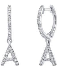 Ron Hami 14k White Gold Diamond Initial Huggie Earrings - 0.13-0.19 Ctw