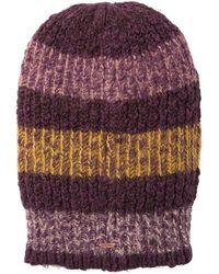 Free People Cozy In Stripes Beanie - Purple