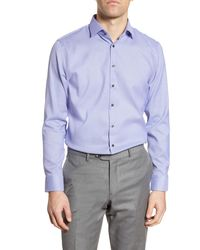Calibrate Trim Fit Stretch Non-iron Geo Print Dress Shirt - Purple