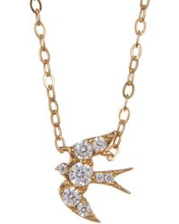 Nadri - 18k Gold Plated Brass Cz Sparrow Pendant Necklace - Lyst
