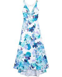 Jump Floral Print Back Cutout Ballgown - Blue