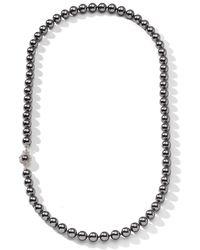 Nadri 8mm Grey Pearl & Cz Necklace - Multicolour