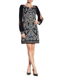 Laundry by Shelli Segal - Embroidered Trim Geo Print Dress - Lyst
