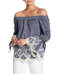 Eci - Off-the-shoulder Embroidered Top - Lyst
