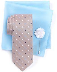 Ben Sherman - Taylor Dot Tie, Pocket Square, & Lapel Stick Pin Set - Lyst