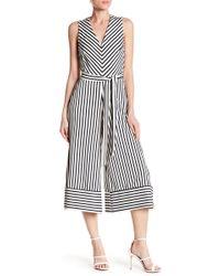 Eci - V-neck Stripe Crop Jumpsuit - Lyst