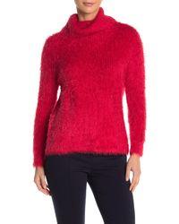 Catherine Malandrino Eyelash Knit Turtleneck Sweater - Red