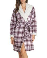 Lyst - UGG Duffield Fleece Lined Cosy Robe in Black 9ce18803f