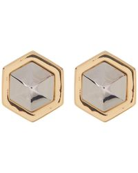 Vince Camuto - Two-tone Faceted Hexagon Stud Earrings - Lyst