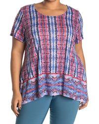 Ruby Rd. Stripe Embellished Handkerchief Hem Top - Blue