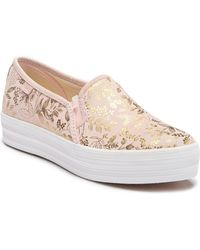 997769c946 Keds Women's Double Decker Basketweave Slip-on Sneakers in Gray - Lyst
