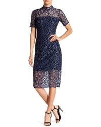 Alexia Admor - Illusion Mock Neck Lace Dress - Lyst