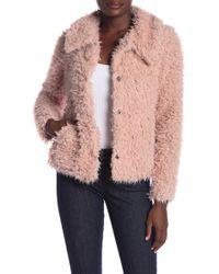 Love Token Cozy Short Faux Fur Coat - Pink