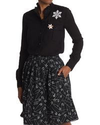 Love Moschino Long Sleeve Shirt With Embroidery - Black