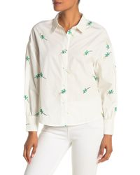 English Factory Embroidered Daisy Dolman Shirt - White