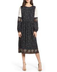 Hinge Mix Print Midi Peasant Dress - Black