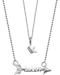 Alex Woo - Little Words Sterling Silver Crown Pendant & Taken Arrow Pendant 2-piece Necklace Set - Lyst