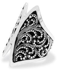 Lois Hill Sterling Silver Cutout Scroll & Granulation Big Ring - Metallic
