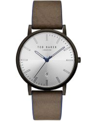 Ted Baker - Dean Leather Strap Watch, 40mm - Lyst