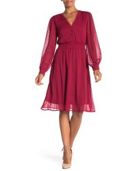 ABS Collection - Long Sleeve Smocked Waist Print Dress - Lyst