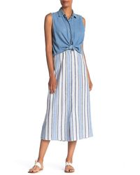 Max Studio - Striped Linen Blend Midi Skirt - Lyst