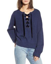 Rails Olivia Lace-up Sweater - Blue
